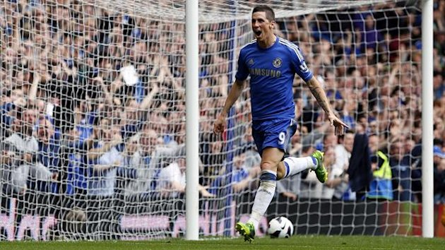 Chelsea's Fernando Torres celebrates after scoring against Everton during their English Premier League match at Stamford Bridge.