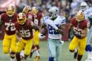 Dallas Cowboys running back DeMarco Murray (29) carries the ball during the first half of an NFL football game against the Washington Redskins in Landover, Md., Sunday, Dec. 28, 2014. Murray set the franchise single-season rushing record for the Cowboys on the play. (AP Photo/Richard Lipski)