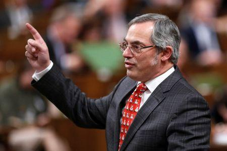 Canada's Treasury Board President Clement speaks in the House of Commons in Ottawa