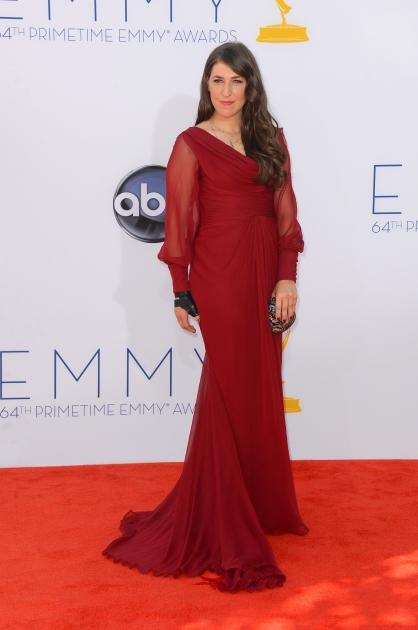 Mayim Bialik looks radiant in red at the 64th Annual Primetime Emmy Awards at Nokia Theatre L.A. Live in Los Angeles on September 23, 2012  -- Getty Images