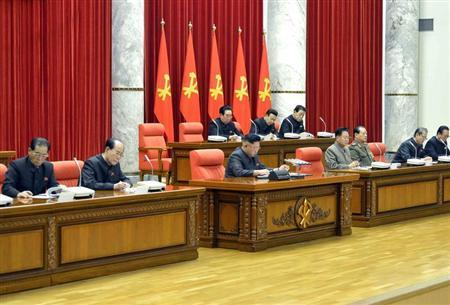 North Korean leader Kim Jong Un attends a meeting of the ruling Workers' Party politburo in Pyongyang