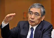 The Bank of Japan&#39;s new governor Haruhiko Kuroda (pictured in 2011) on Thursday pledged &quot;all-out efforts&quot; to rid Japan of growth-sapping deflation as gloomy new trade data underlined the scale of the task ahead