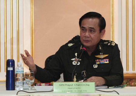 Thai Army chief General Prayuth Chan-ocha speaks during a meeting with members of the International Chamber of Commerce in Bangkok