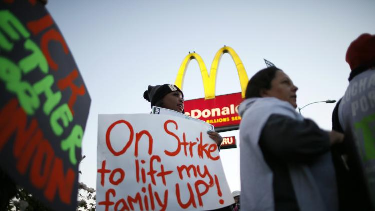 McDonald's worker Keyana McDowell, 20, strikes outside McDonald's in Los Angeles