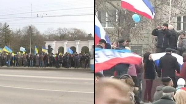 Pro- und anti-russische Demonstrationen in der Ukraine