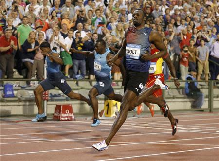Bolt of Jamaica wins the men's 100 metres during the IAAF Diamond League athletics meeting in Brussels