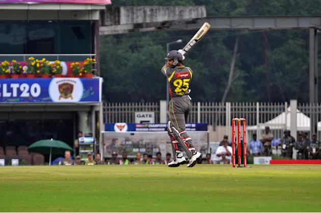 Shikhar Dhawan of Sunrisers Hyderabad in action during T-20 match against Titans during Karbonn Smart Champions League Twenty-20 Match at Jharkhand State Cricket Association (JSCA) International Crick