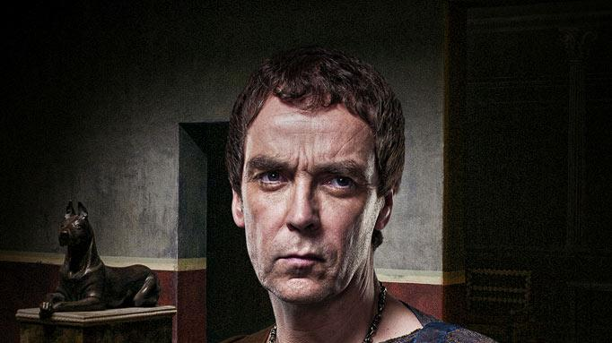 "John Hannah as Batiatus in ""Spartacus: Gods of the Arena."""