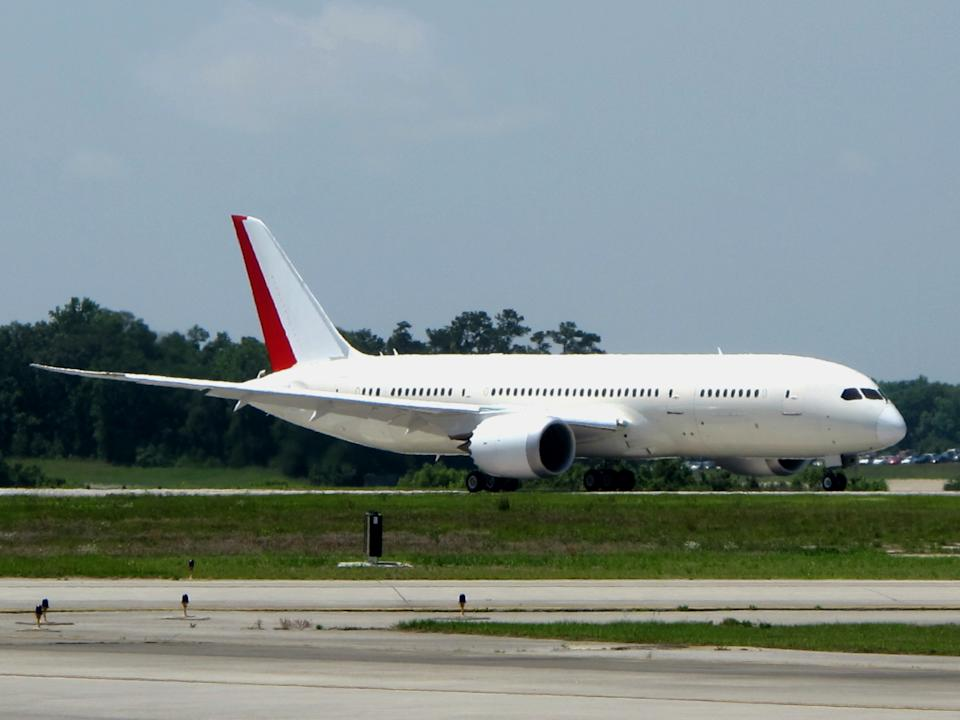 The first Boeing 787 manufactured in South Carolina taxies along the runway before its maiden flight from the Charleston International Airport in North Charleston, S.C., on Wednesday, May 23, 2012. It's the first plane manufactured at the $750 million assembly plant that opened last summer.   (AP Photo/Bruce Smith)