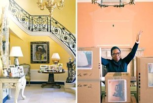 Oprah's furnishings before, and in Oprah-sealed boxes after.