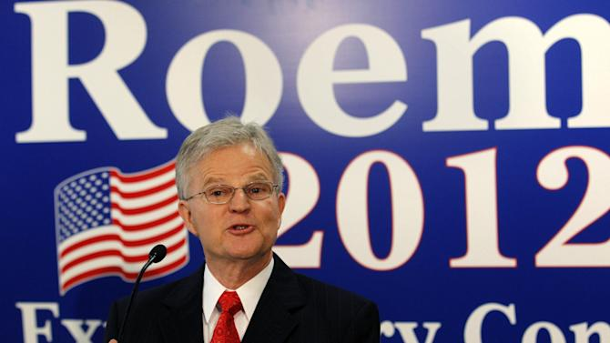 """FILE - In this March 3, 2012 file photo, Former Louisiana Gov. Charles 'Buddy' Roemer gestures during a news conference in Baton Rouge, La., to announce that he is forming an exploratory committee for a 2012 White House bid.  Only two presidential candidates have applied for and received federal matching campaign funds this election cycle year, and they're hardly household names. One is Roemer, who suspended campaigning late last week """"after 17 months of a wonderful campaign.""""  (AP Photo/Gerald Herbert, File)"""