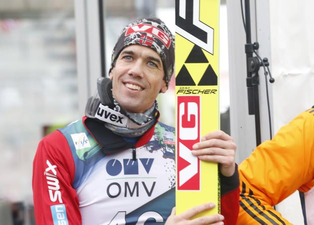 Bardal celebrates finishing second in the World Cup ski jumping large hill individual event in Oslo
