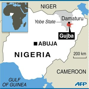 Map of Nigeria locating an attack in Gujba, near Damaturu, …