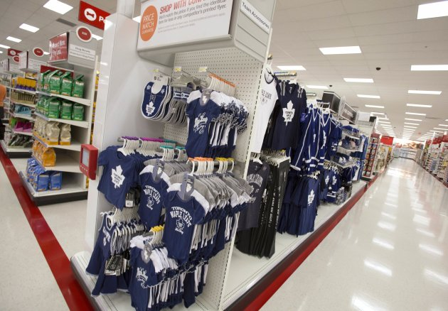 Shelves are stocked at a Target store in Guelph, Ontario