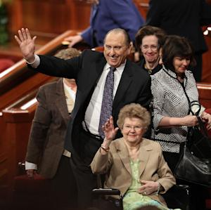 FILE - In this April 3, 2011 file photo, president of The Church of Jesus Christ of Latter-day Saints, Thomas S. Monson and his wife, Frances, wave to the crowd after The Church of Jesus Christ of Latter-day Saints 181st Annual General Conference, in Salt Lake City. Frances Monson died early Friday, May 17, 2013, at a hospital in Salt Lake City. She was 85. The cause of death was not immediately disclosed. The church says she had been hospitalized for several weeks and was surrounded by her family at the time of death. (AP Photo/Deseret News, Tom Smart, File)