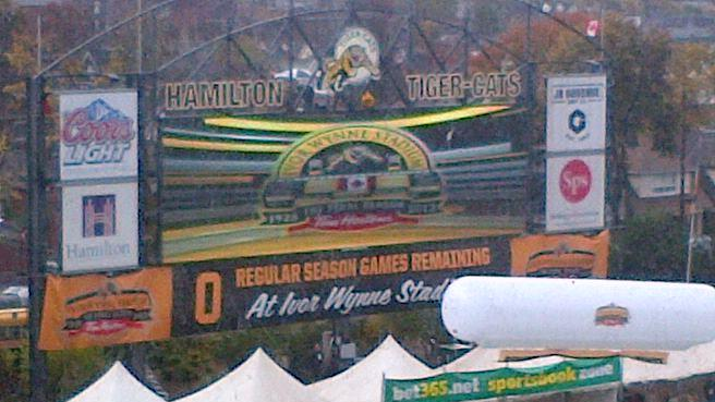 Sign at Ivor Wynne Stadium in Hamilton showing the number of regualr season CFL games at the famed venue. (Photo by Ian Denomme)