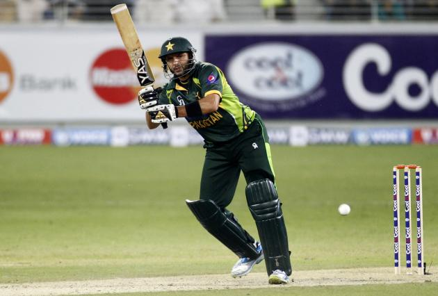 Pakistan's Shahid Afridi plays a shot during their second Twenty20 international cricket match against Sri Lanka in Dubai