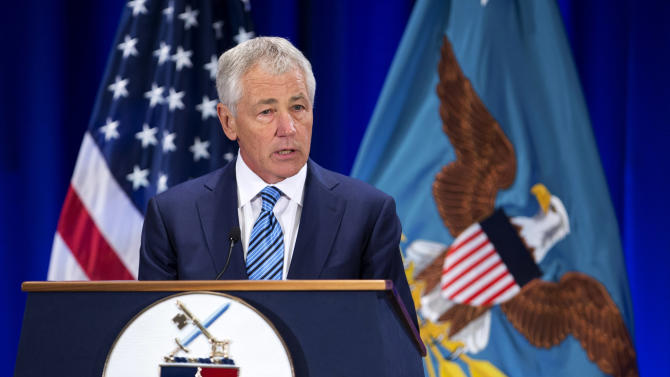 Defense Secretary Chuck Hagel speaks at the National Defense University at Fort McNair in Washington, Wednesday, April 3, 2013. Hagel labeled North Korea's rhetoric as a real, clear danger and threat to the U.S. and its Asia-Pacific allies. He said the U.S. is doing all it can to defuse the situation, echoing comments a day earlier by Secretary of State John Kerry. (AP Photo/Manuel Balce Ceneta)