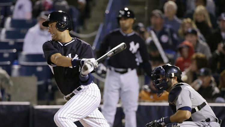 New York Yankees' Derek Jeter hits a third-inning single during a spring training baseball game against the Detroit Tigers in Tampa, Fla., Friday, March 7, 2014. (AP Photo/Kathy Willens)
