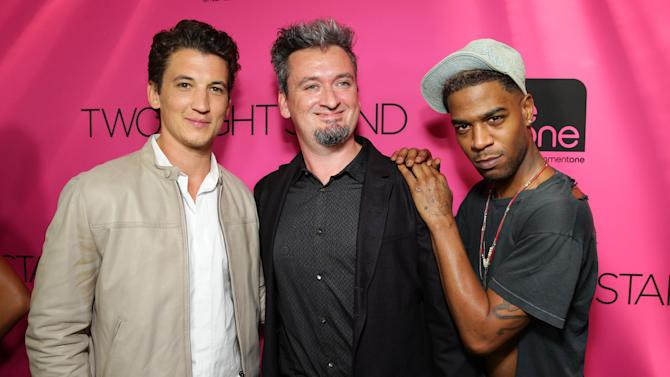 """Miles Teller, Director Max Nichols and Scott Mescudi seen at eONE Films US Los Angeles Premiere of """"Two Night Stand"""" on Tuesday, Sep 16, 2014, in Los Angeles. (Photo by Eric Charbonneau/Invision for eONE Films US/AP Images)"""