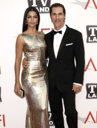 "ADDS DATE OF PHOTO - Actor Matthew McConaughey, right, and Camilla Alves arrive at the taping of ""TV Land Presents: AFI Life Achievement Award Honoring Morgan Freeman"" in Culver City, Calif., Thursday, June 9, 2011. The special will air June 19th on TV Land. (AP Photo/Matt Sayles)"