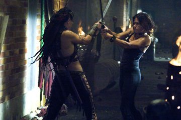 Leanne Liebenberg and Rhona Mitra in Rogue Pictures' Doomsday