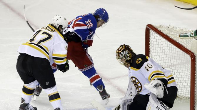 Boston Bruins goalie Tuukka Rask, of Finland watches a puck pass him as New York Rangers' Mats Zuccarello (36) looks on during the third period in Game 4 of the Eastern Conference semifinals in the NHL hockey Stanley Cup playoffs, Thursday, May 23, 2013, in New York. (AP Photo/Frank Franklin II)