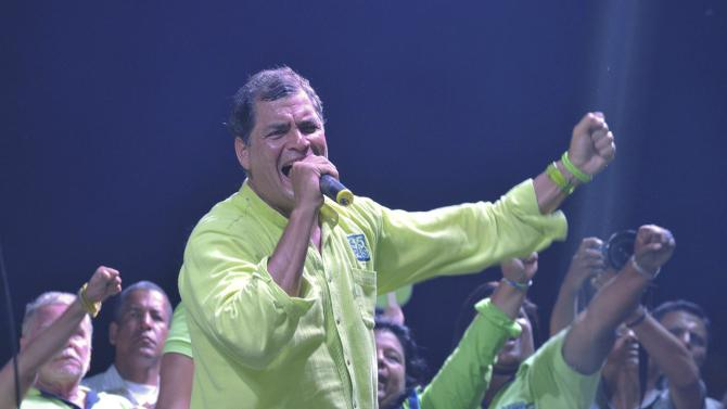 Ecuador's President Correa gestures during his closing political rally in Guayaquil