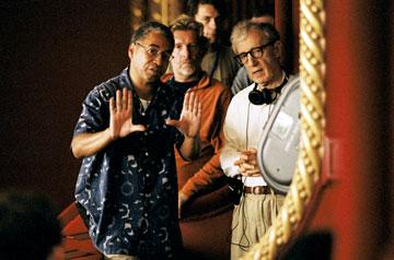 Director of Photography Remi Adefarasin and writer/director Woody Allen on the set of DreamWorks Pictures' Match Point
