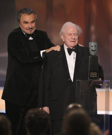 FILE - In this Sunday, Jan. 27, 2008 file photo, actor Charles Durning accepts the life achievement award from presenter Burt Reynolds, left, at the 14th Annual Screen Actors Guild Awards in Los Angeles. Durning, the two-time Oscar nominee who was dubbed the king of the character actors for his skill in playing everything from a Nazi colonel to the pope, died Monday, Dec. 24, 2012 at his home in New York City. He was 89. (AP Photo/Mark J. Terrill)