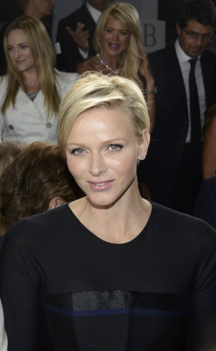 Monaco's Princess Charlene attends a fashion show by Belgian designer Raf Simons for French fashion house Dior in Monaco