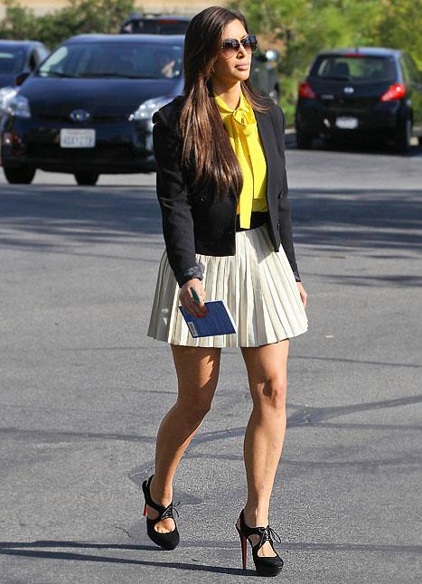 Kim Kardashian Wears Miniskirt, Sexy Heels to Church on Easter