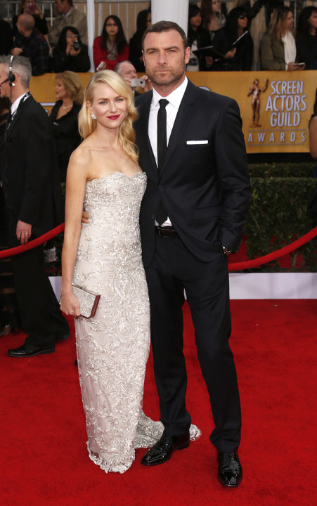 Naomi Watts and Liev Schreiber arrives at the 19th Annual Screen Actors Guild Awards at the Shrine Auditorium in Los Angeles on Sunday Jan. 27, 2013. (Photo by Todd Williamson/Invision for The Hollywo