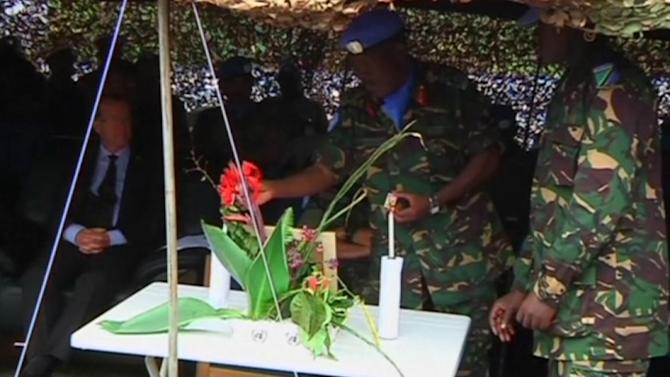 U.N. forces hold memorial service for Tanzanian officer killed in DRC
