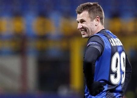 Inter Milan's Cassano reacts during their Europa League soccer match against Tottenham Hotspur in Milan