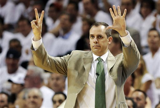 Indiana Pacers head coach Frank Vogel gestures during the first half of Game 1 in their NBA basketball Eastern Conference finals playoff series against the Miami Heat, Wednesday, May 22, 2013 in Miami