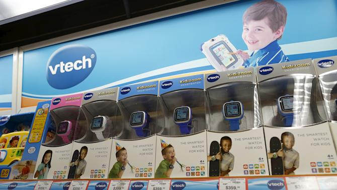 VTech Kidizoom Smartwatches are seen on display at a toy store in Hong Kong, China