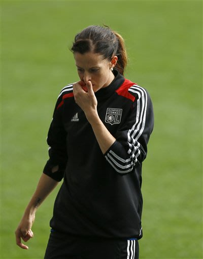 Lyon's Lotta Schelin of Sweden takes part in a training session at Stamford Bridge Stadium in London Wednesday, May 22, 2013. VfL Wolfsburg will play Olympique Lyonnais in the Women's Champions League