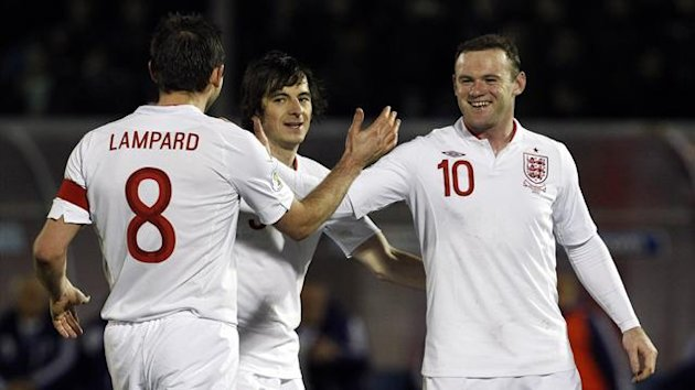 Frank Lampard, Leighton Baines and Wayne Rooney (Reuters)
