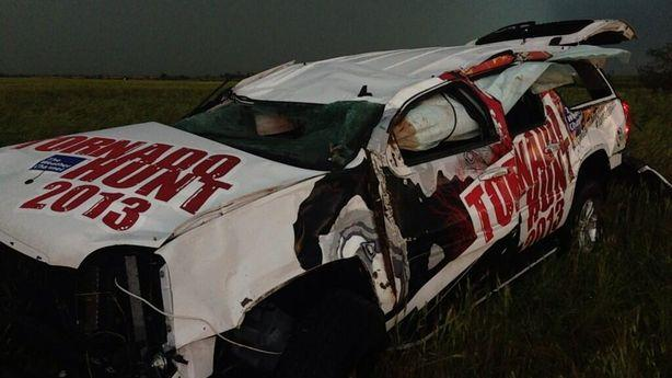 Weather Channel's Tornado Hunt 2013 Vehicle Hit by Tornado