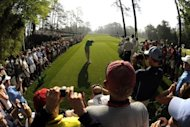 Tiger Woods tees off during a practice round prior to the start of the Masters at Augusta National Golf Club in Augusta, Georgia. Overnight storms had Augusta National groundstaff scurrying to clean up debris on the course on Wednesday morning as players completed their preparations for the most hotly anticipated Masters in years