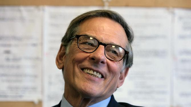 """FILE - In this Aug. 20, 2008 file photo, author and biographer Robert Allan Caro is shown during an interview in New York. Caro received a nomination on Wednesday, Oct. 10, 2012 for a National Book Award for the fourth of his Lyndon Johnson books, """"The Passage of Power.""""  The winners will be announced Nov. 14. (AP Photo/Bebeto Matthews, file)"""