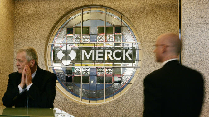 FILE - This Wednesday, April 15, 2009, file photo, shows the lobby of Merck & Company's world headquarters in Whitehouse Station, N.J. The drugmaker Merck & Co. announced Tuesday, Oct. 9, 2012, that it will move its global headquarters to another Merck site in Summit, which is about 12 miles west of New York City, in order tolower operating expenses and consolidate its properties. (AP Photo/Mel Evans)