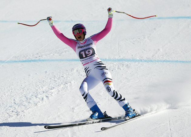 Germany's Hoefl-Riesch celebrates during the women's Alpine Skiing World Cup super-G race in Garmisch-Partenkirchen