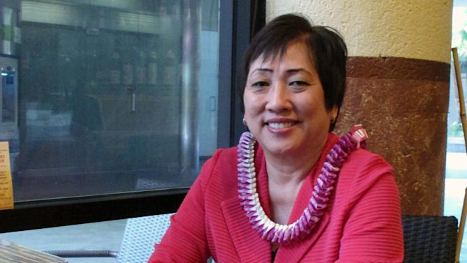 U.S. Rep. Colleen Hanabusa poses for a portrait in Honolulu on Thursday, May 2, 2013. Hanabusa told The Associated Press she intends to run for U.S. Senate in 2014, challenging incumbent Sen. Brian Schatz in a primary. (AP Photo/Oskar Garcia)