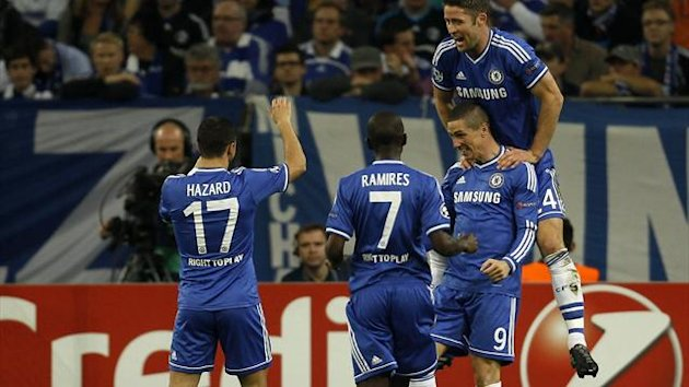Chelsea celebrate a Champions League goal (Reuters)