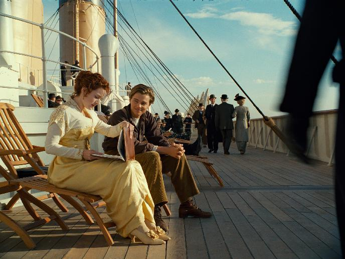 "In this film image released by Paramount Pictures, Leonardo DiCaprio and Kate Winslet, left, are shown in a scene from the 3-D version of James Cameron's romantic epic ""Titanic."" (AP Photo/Paramount Pictures)"