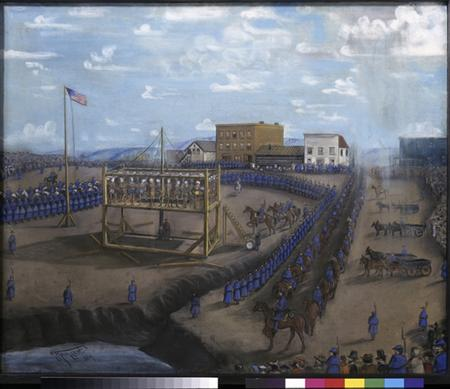 "A painting titled ""Execution of Dakota Indians, Mankato, Minnesota"" is pictured in this handout photo from the Minnesota Historical Society. REUTERS/Minnesota Historical Society/Handout"
