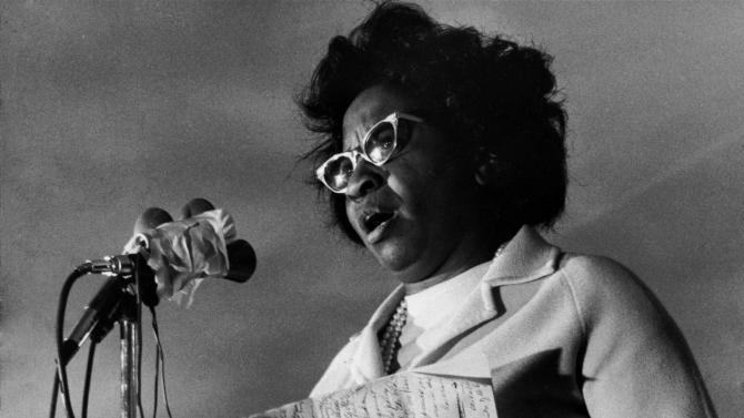 FILE In this Nov. 16, 1971 photo, longtime Oklahoma civil rights leader, Clara Luper announces her candidacy for the U.S. Senate at a rally on Oklahoma city's east side.  Luper, who led sit-ins at drug store lunch counters in Oklahoma, has died at age 88. Luper's daughter, Marilyn Hildreth, said Thursday, June 9, 2011 that her mother died Wednesday night after a lengthy illness.  Luper, who retired from her role as a school teacher in 1991, said in a 2006 interview with The Associated Press that she had dedicated her life to spreading the message of racial and gender equality. (AP Photo/File)