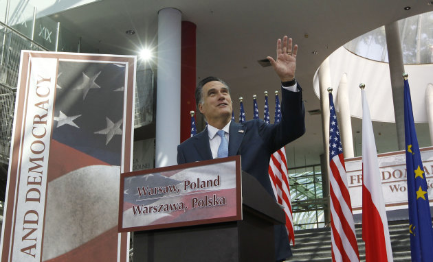 Republican presidential candidate and former Massachusetts Gov. Mitt Romney speaks at the University of Warsaw Library in Warsaw, Poland, Tuesday, July 31, 2012. (AP Photo/Charles Dharapak)